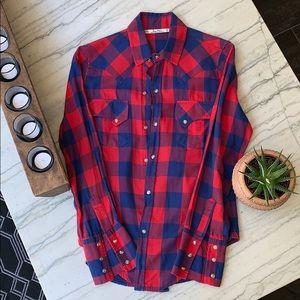 Zara Plaid Button-up Shirt